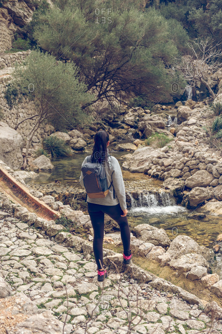 Back view of female with backpack standing on a stone path near a river with fresh clean water in amazing park