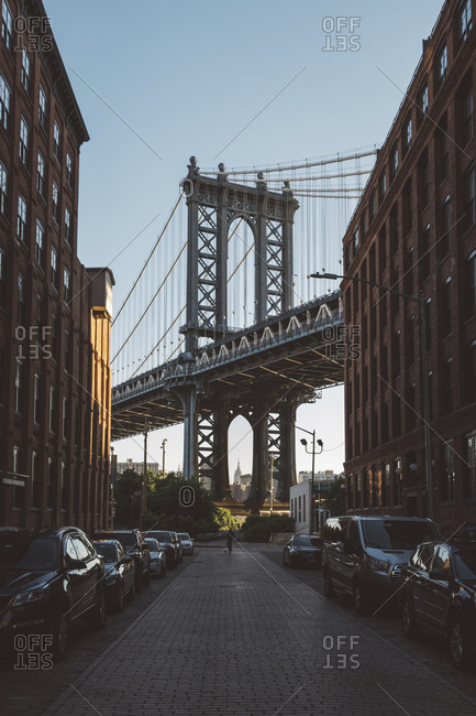USA, New York, New York - June 29, 2018: Low angle view of Manhattan Bridge against clear blue sky during sunset