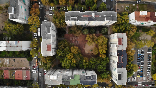 Aerial view of an area of blocks of housing in a working class neighborhood
