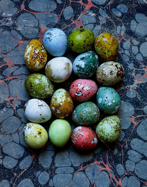 Colorful speckled Easter eggs