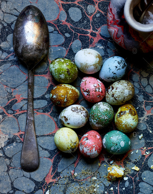January 13, 2017: Colorful speckled Easter eggs beside a vintage Horn & Hardart spoon