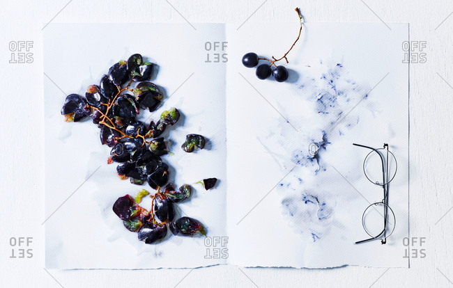 July 22, 2016: Grapes squashed on paper and Lindbergh glasses