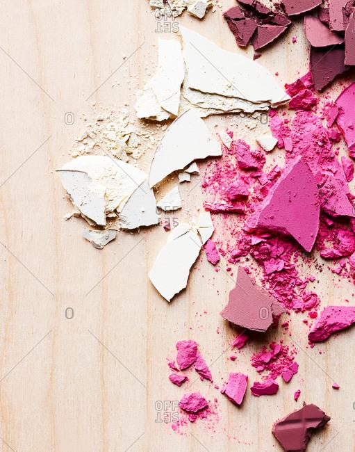 Various shades of cracked powder makeup