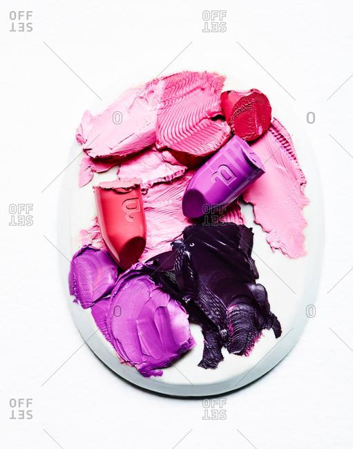Colorful lipsticks smeared