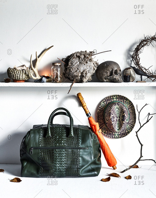 Leather bag and orange umbrella under shelf with skulls, antlers, and a beehive