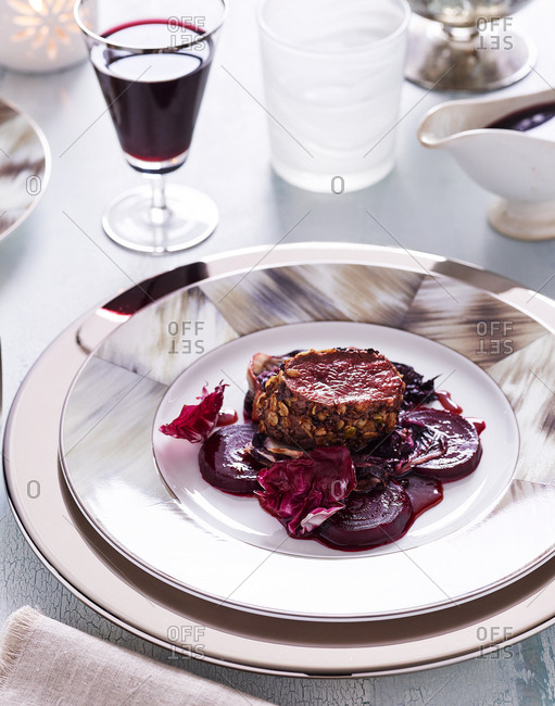 Gourmet dish and red wine