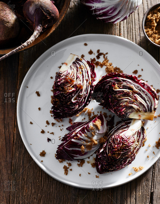 Red cabbage on a plate and brown sugar