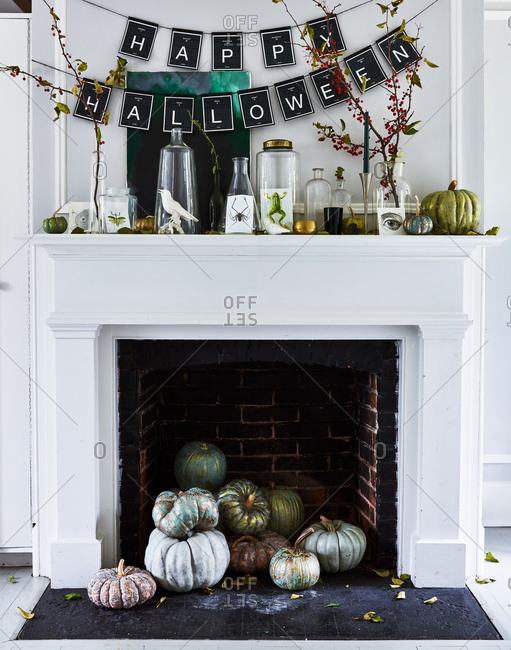 October 27, 2016: Mantel decorated with Halloween decor
