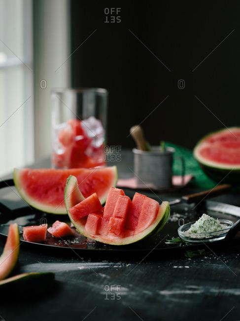 Fresh cut watermelon on a plate