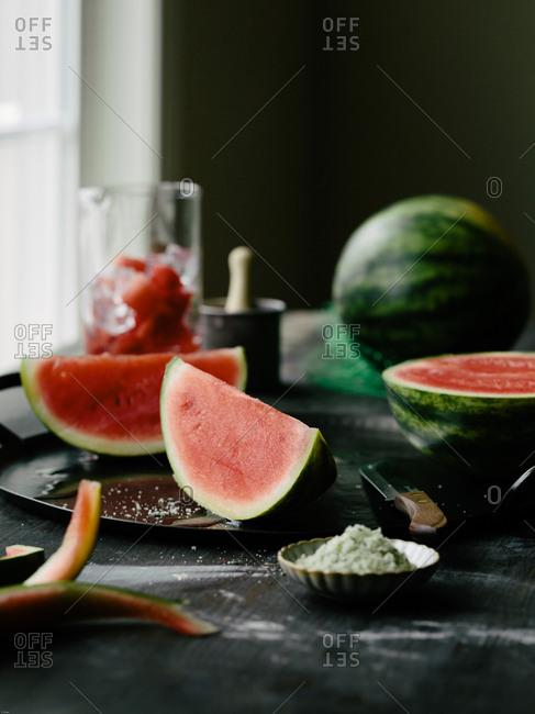 Fresh sliced watermelon on a table