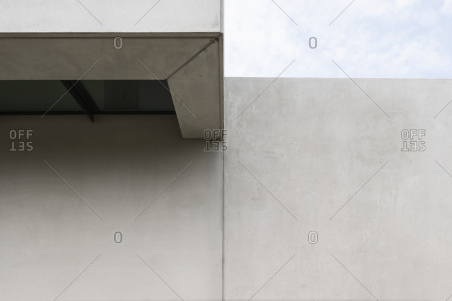 Architectural detail of the corner of a concrete house