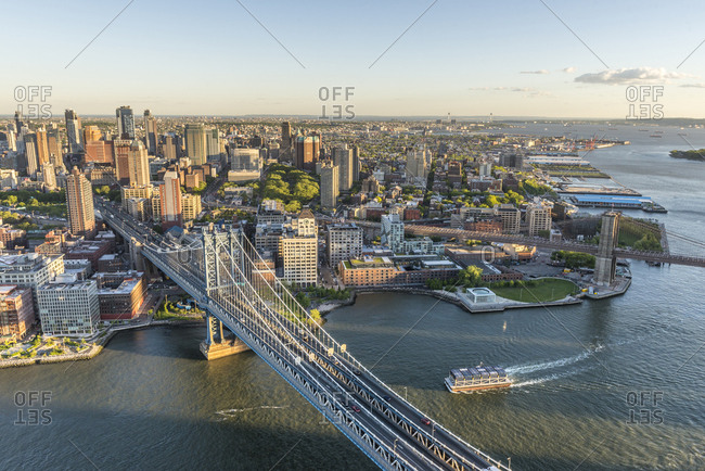 An aerial view of Brooklyn and the Manhattan Bridge in New York City.
