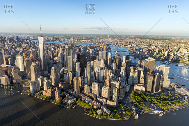 New York, New York, USA - May 15, 2017: An aerial view of lower manhattan in New York City.