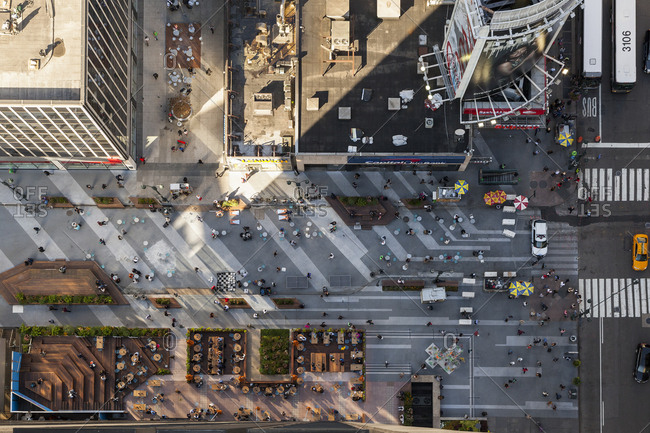New York, New York, USA - September 8, 2017: An aerial view of pedestrian using Madison Square Garden public space.