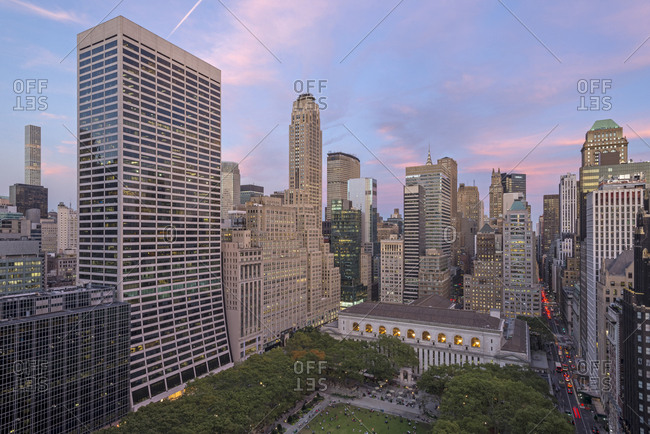 A rooftop view of Bryant Park.
