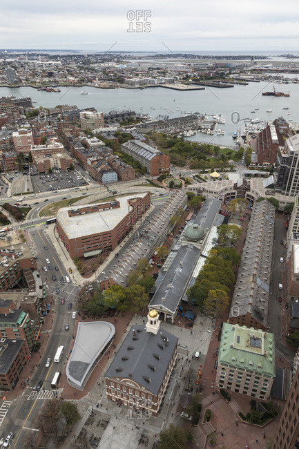 Boston, MA, USA - October 16, 2017: A view of faneuil hall and the north end in Boston.