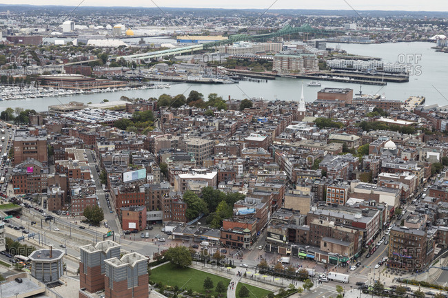 Boston, MA, USA - October 16, 2017: A view of the north end in Boston.
