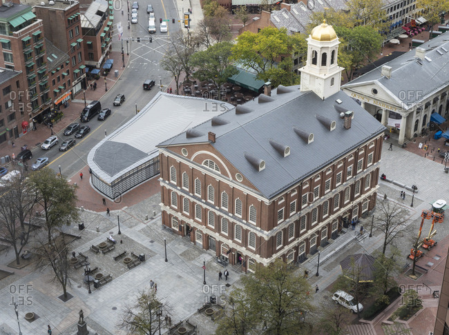 Boston, MA, USA - October 16, 2017: A view of faneuil hall in Boston.