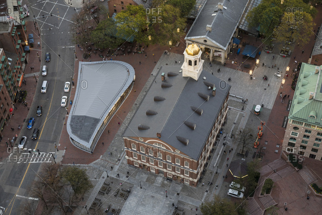 Boston, MA, USA - October 16, 2017: A view of faneuil hall and the pedestrian mall in Boston.