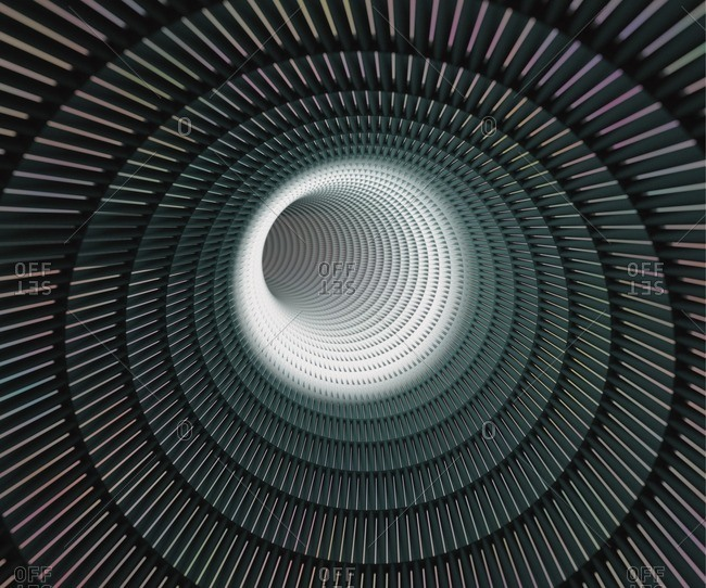 Computer generated image of a circular tunnel.