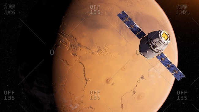 Illustration of a satellite in front of Mars.