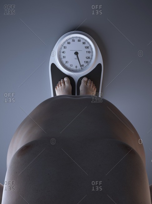 Illustration of an obese man on a scale.