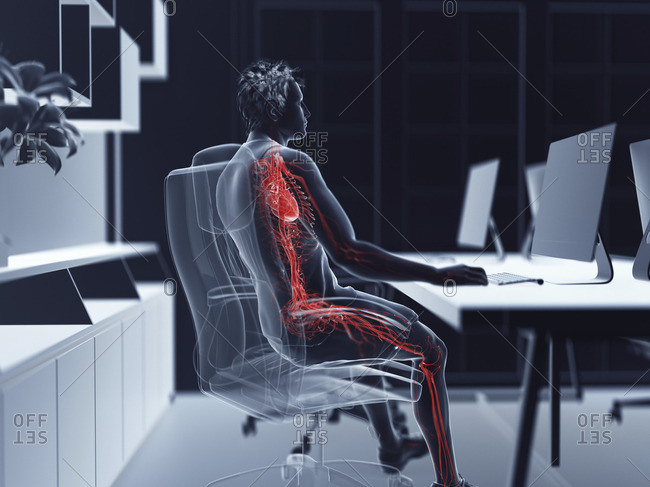 Illustration of an office worker's vascular system.