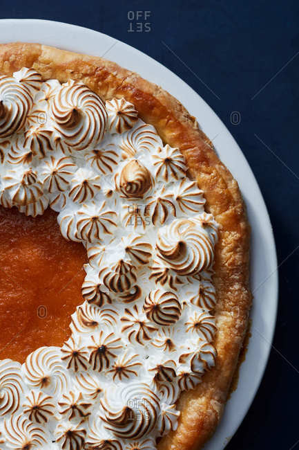 Close up of a sweet potato pie
