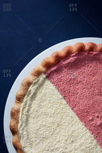 Pink and white half and half pie