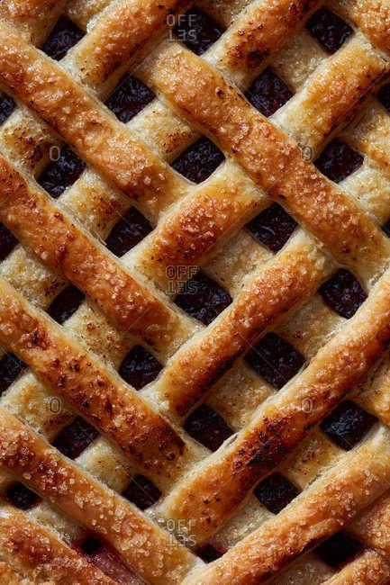 Close up of herring bone lattice pie