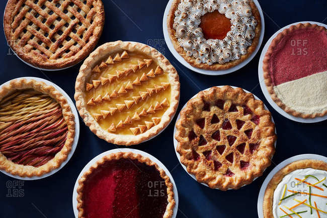 Overhead view of various of pies