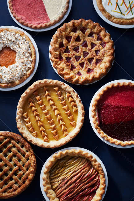 Overhead view of a variety of pies