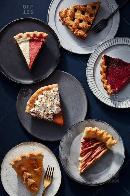 Overhead view of a variety of pie slices