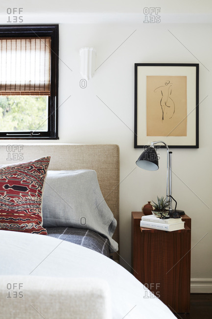 Los Angeles, California - February 27, 2018: Bedroom with lamp on nightstand