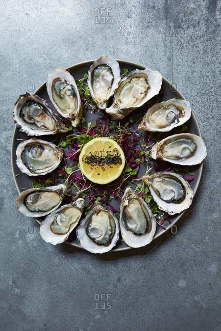 Oyster appetizer dish with lemon