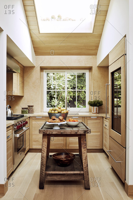 Malibu, California - January 8, 2015: Chad Eisner's modern design of a kitchen in a Malibu beach house