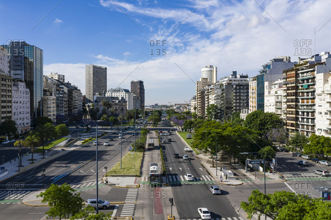 Buenos Aires, Argentina - November 17, 2018: Elevated view over streets in Buenos Aires