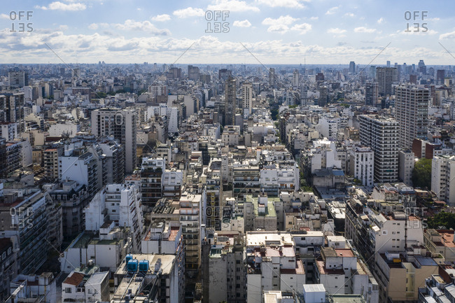 Elevated view over apartment and office buildings in Buenos Aires, Argentina