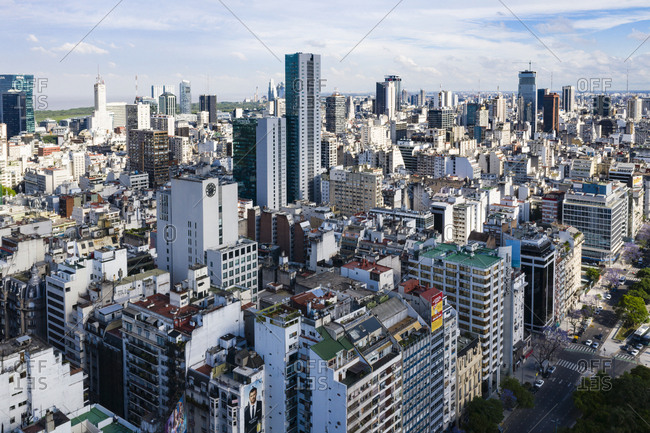 Buenos Aires, Argentina - November 17, 2018: View over apartment and office buildings in Buenos Aires, Argentina
