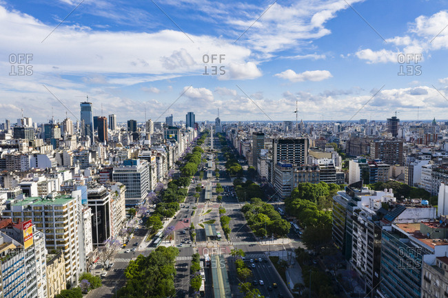 Buenos Aires, Argentina - November 17, 2018: View over streets and buildings in Buenos Aires, Argentina
