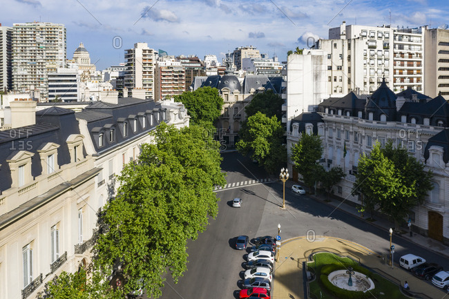 Buenos Aires, Argentina - November 17, 2018: Aerial view above streets in Buenos Aires