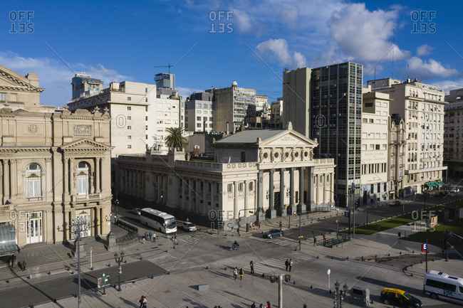 Buenos Aires, Argentina - November 17, 2018: Teatro Col�n theatre and other buildings in Buenos Aires