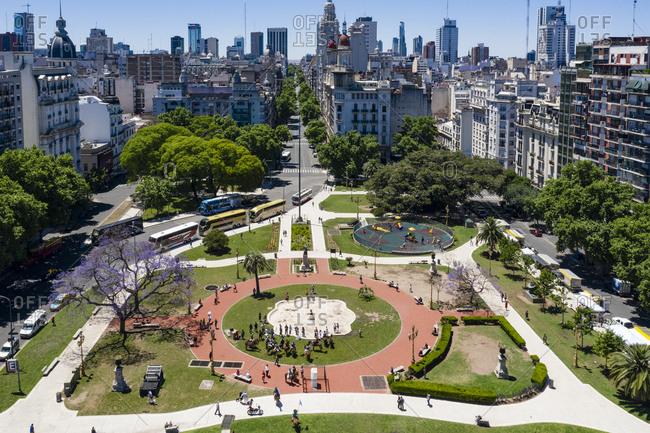 Buenos Aires, Argentina - November 18, 2018: Park with Monolith Kilometer Zero Argentina