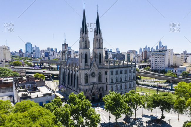 Buenos Aires, Argentina - November 18, 2018: Large Catholic church with two tall towers