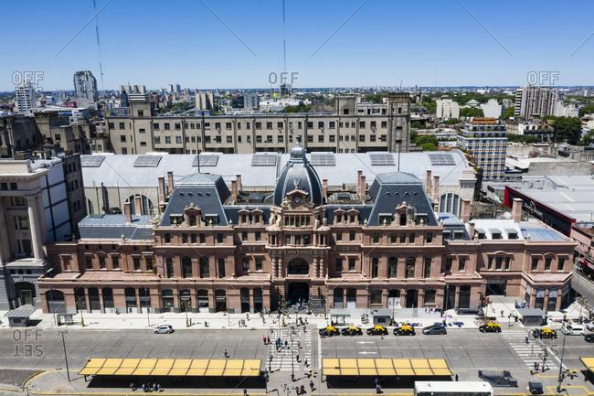 Buenos Aires, Argentina - November 18, 2018: Elevated view of Estacion Plaza Constitucion