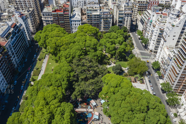 Drone view over Plaza Vicente Lopez y Planes, Buenos Aires, Argentina