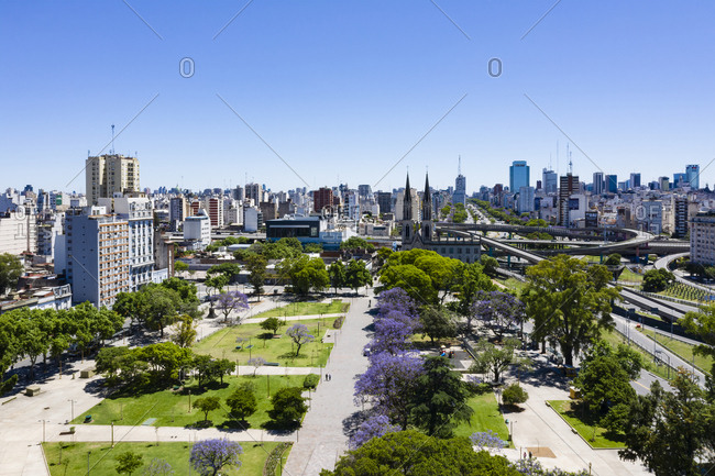 Buenos Aires, Argentina - November 18, 2018: View over city park