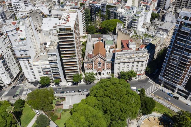 Buenos Aires, Argentina - November 18, 2018: Plaza Vicente Lopez y Planes, Buenos Aires, Argentina