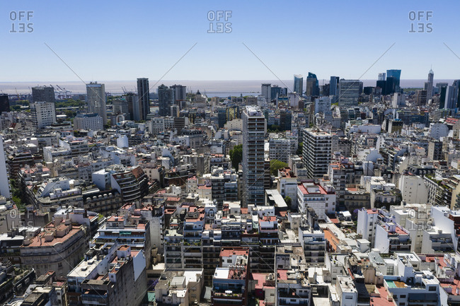 Buenos Aires, Argentina - November 18, 2018: Aerial view over the city of Buenos Aires
