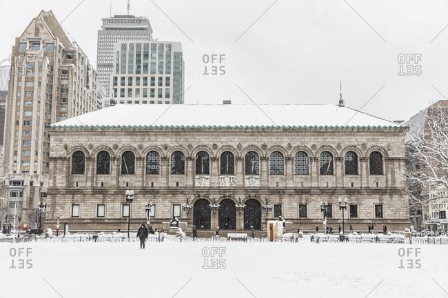 Boston, Massachusetts - March 9, 2018: Snow covering Boston during a late season blizzard